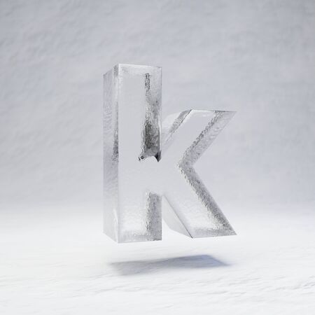 Ice letter K lowercase. 3D rendered alphabet on white snow background. Best for winter sports banners, cocktail bars, ice exhibition advertising.