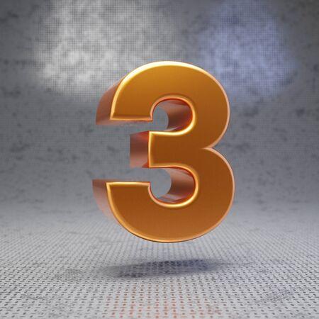 Golden number 3 on metal textured background. 3D rendered glossy metallic digit. Best for poster, banner, advertisement, decoration.