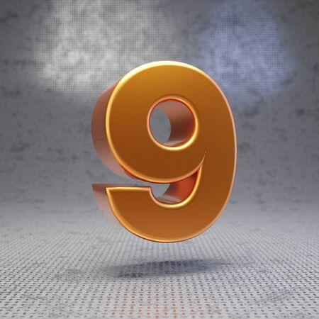 Golden number 9 on metal textured background. 3D rendered glossy metallic digit. Best for poster, banner, advertisement, decoration.