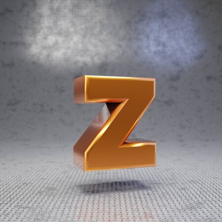 Golden letter Z lowercase on metal textured background. 3D rendered glossy metallic font. Best for poster, banner, advertisement, decoration.