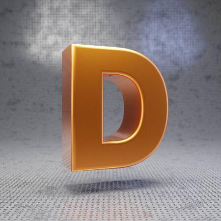 Golden letter D uppercase on metal textured background. 3D rendered glossy metallic font. Best for poster, banner, advertisement, decoration.