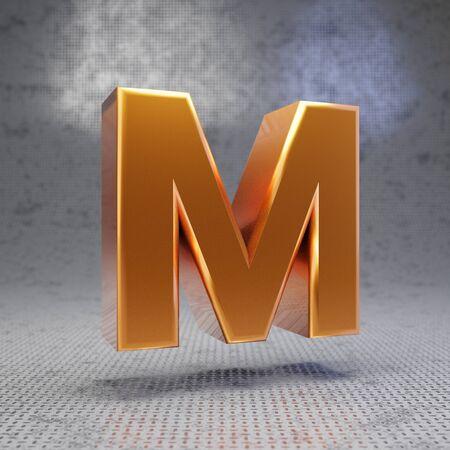 Golden letter M uppercase on metal textured background. 3D rendered glossy metallic font. Best for poster, banner, advertisement, decoration. Imagens