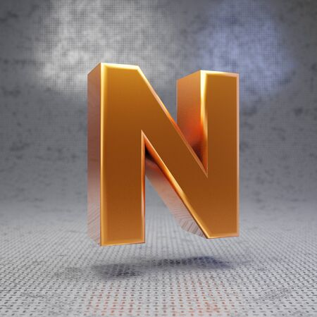 Golden letter N uppercase on metal textured background. 3D rendered glossy metallic font. Best for poster, banner, advertisement, decoration.