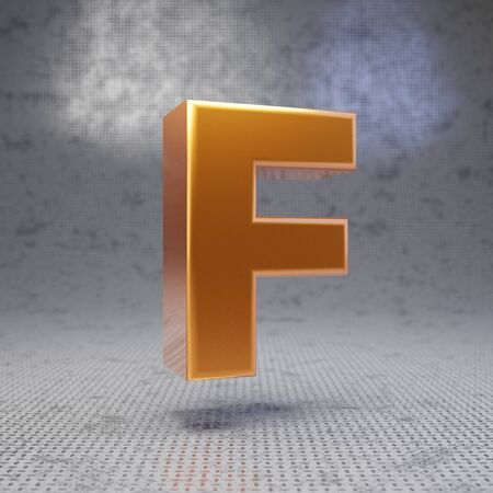 Golden letter F uppercase on metal textured background. 3D rendered glossy metallic font. Best for poster, banner, advertisement, decoration.