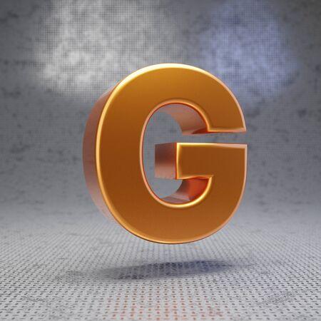 Golden letter G uppercase on metal textured background. 3D rendered glossy metallic font. Best for poster, banner, advertisement, decoration.