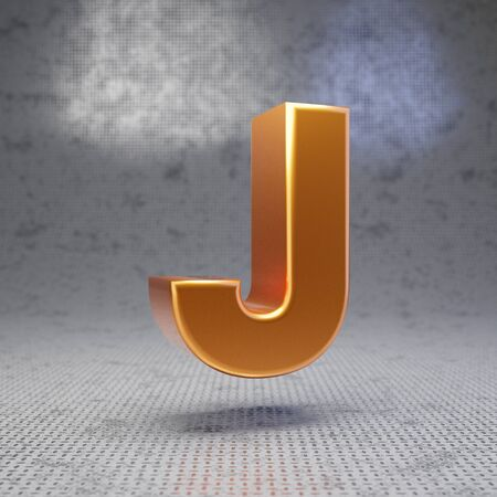 Golden letter J uppercase on metal textured background. 3D rendered glossy metallic font. Best for poster, banner, advertisement, decoration.