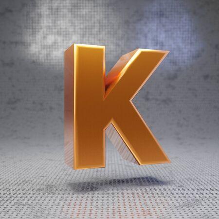 Golden letter K uppercase on metal textured background. 3D rendered glossy metallic font. Best for poster, banner, advertisement, decoration.