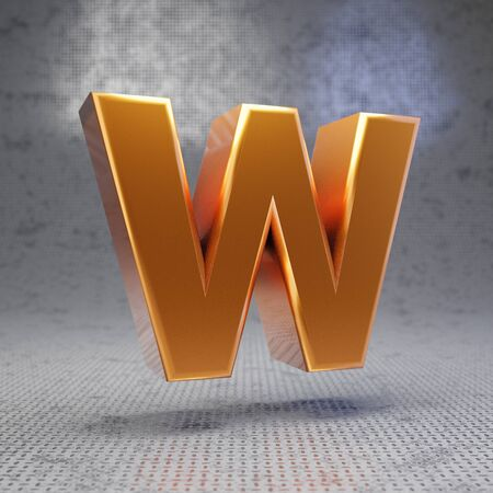 Golden letter W uppercase on metal textured background. 3D rendered glossy metallic font. Best for poster, banner, advertisement, decoration.