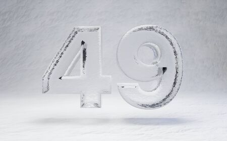 Ice number 49. 3D rendered alphabet on white snow background. Best for winter sports banners, cocktail bars, ice exhibition advertising. Stock Photo