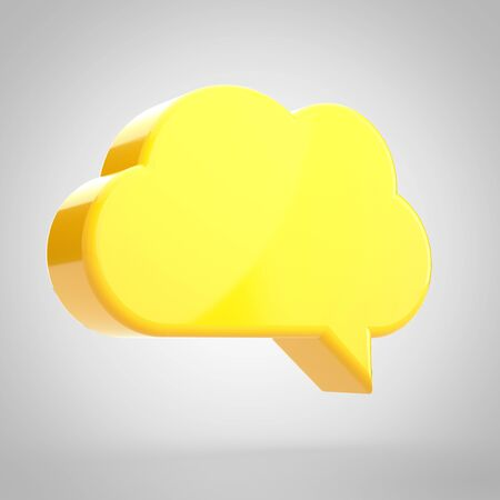Speech bubble isolated on white background. 3D rendered yellow chat bubble.