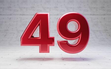 Red number 49. Metallic red color digit isolated on concrete background. 3D rendering.