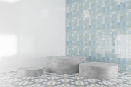Three round concrete platforms on tile background near blue tiled wall. Hard stone cylinder podiums on floor. Abstract background for product presentation. 3d render.