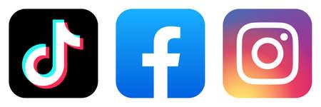Kyiv, Ukraine - May 20, 2020: Set of popular social media icons printed on white paper: TikTok, Facebook, Instagram. Trendy Social Network applications logos. Editorial