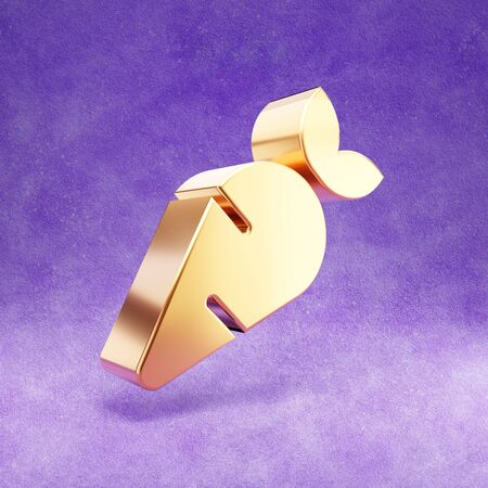 Carrot icon. Gold glossy Carrot symbol isolated on violet velvet background.