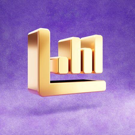 Chart bar icon. Gold glossy Chart bar symbol isolated on violet velvet background. Stok Fotoğraf