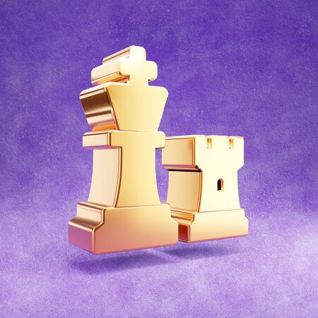 Chess icon. Gold glossy Chess symbol isolated on violet velvet background. Modern icon for website, social media, presentation, design template element. 3D render.