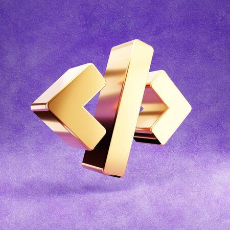 Code icon. Gold glossy Code symbol isolated on violet velvet background. Stok Fotoğraf