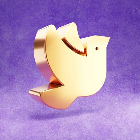 Dove icon. Gold glossy Peace symbol isolated on violet velvet background.