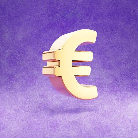 Euro icon. Gold glossy Euro symbol isolated on violet velvet background.