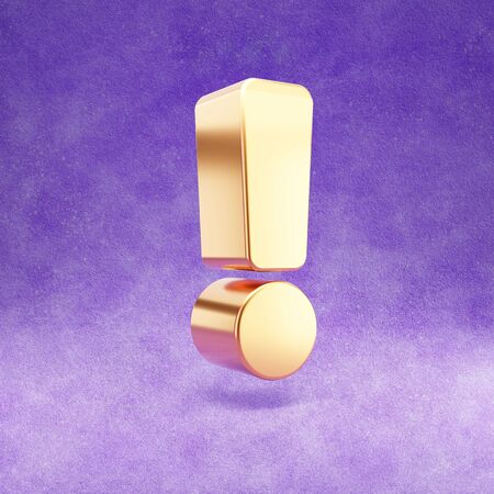 Exclamation icon. Gold glossy Exclamation point symbol isolated on violet velvet background. Stok Fotoğraf