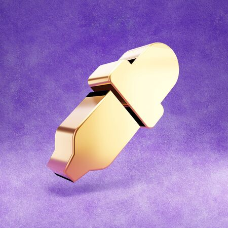 Eyedropper icon. Gold glossy Eyedropper symbol isolated on violet velvet background.