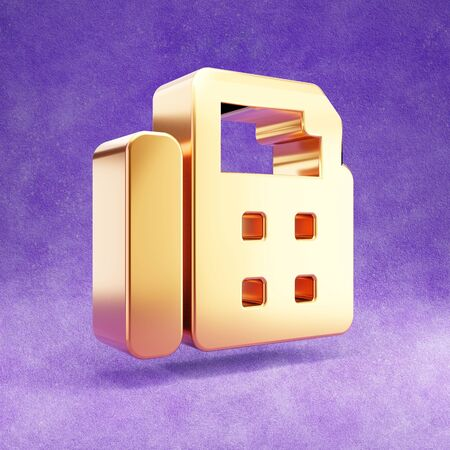 Fax icon. Gold glossy Fax symbol isolated on violet velvet background.