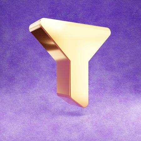 Filter icon. Gold glossy Filter symbol isolated on violet velvet background.