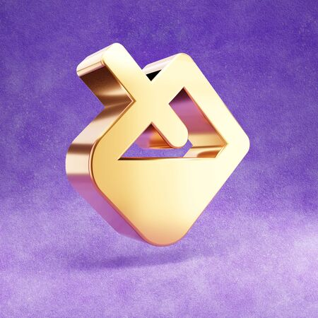 Paint bucket icon. Gold glossy Paint bucket symbol isolated on violet velvet background. Stok Fotoğraf