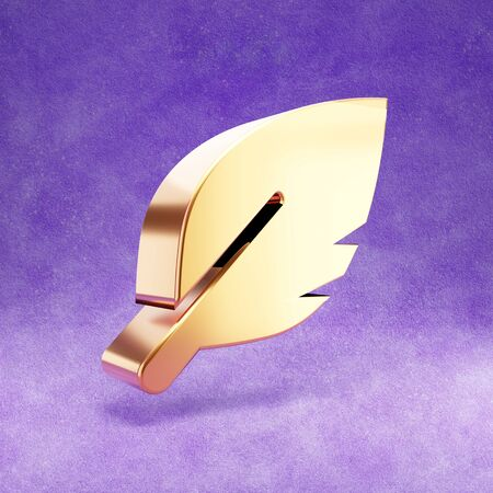 Feather icon. Gold glossy Feather symbol isolated on violet velvet background.