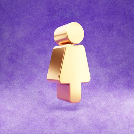 Female icon. Gold glossy Female symbol isolated on violet velvet background.