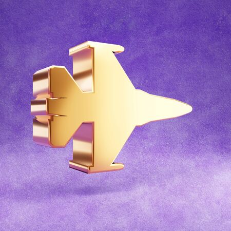 Fighter jet icon. Gold glossy Fighter jet symbol isolated on violet velvet background. Stok Fotoğraf