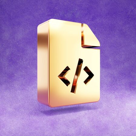 Code file icon. Gold glossy Code file symbol isolated on violet velvet background. Stok Fotoğraf