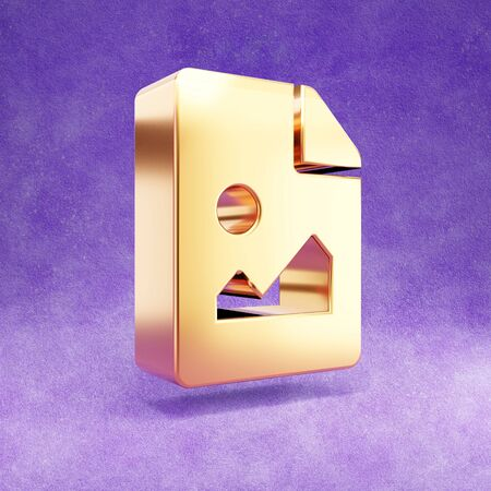 Image file icon. Gold glossy Image file symbol isolated on violet velvet background.