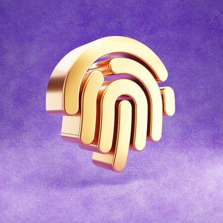 Fingerprint icon. Gold glossy Fingerprint symbol isolated on violet velvet background.