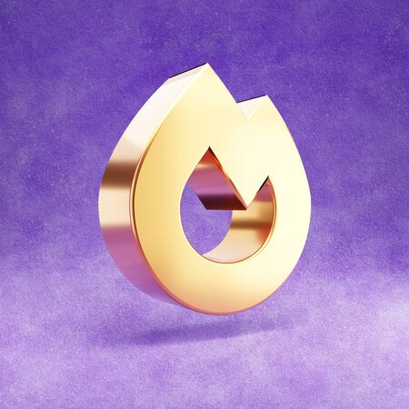 Fire icon. Gold glossy Fire symbol isolated on violet velvet background.
