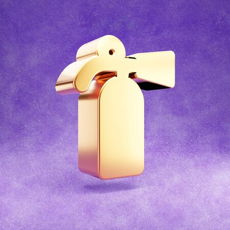 Fire extinguisher icon. Gold glossy Fire extinguisher symbol isolated on violet velvet background.