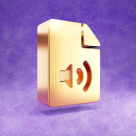 Audio file icon. Gold glossy Audio file symbol isolated on violet velvet background. Stok Fotoğraf