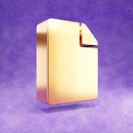 File icon. Gold glossy File symbol isolated on violet velvet background. Stok Fotoğraf