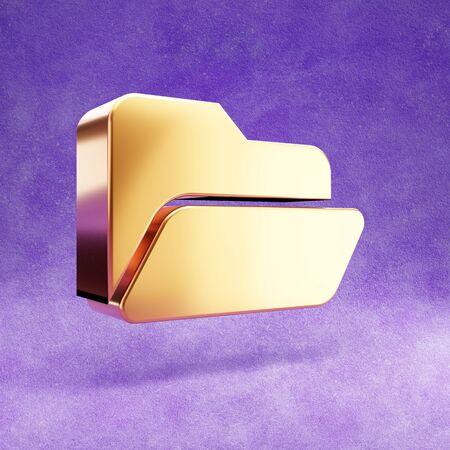 Opened Folder icon. Gold glossy Opened Folder symbol isolated on violet velvet background.
