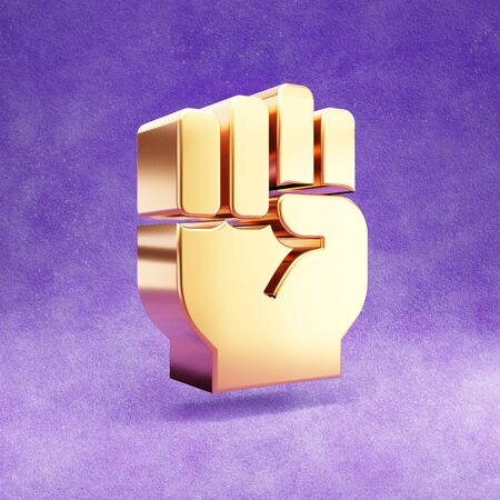 Fist icon. Gold glossy Fist symbol isolated on violet velvet background.