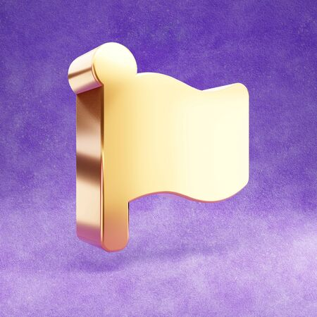 Flag icon. Gold glossy Flag symbol isolated on violet velvet background.