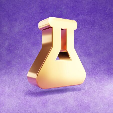 Flask icon. Gold glossy Flask symbol isolated on violet velvet background. Stok Fotoğraf