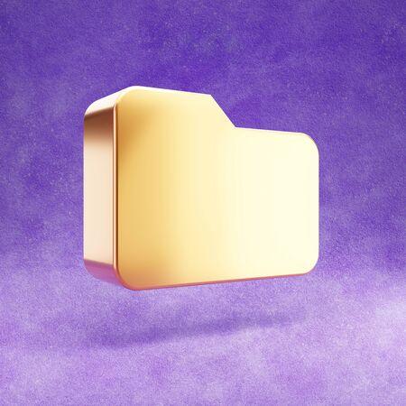 Folder icon. Gold glossy Folder symbol isolated on violet velvet background. Stok Fotoğraf