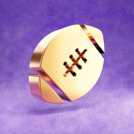 American football ball icon. Gold glossy football ball symbol isolated on violet velvet background.