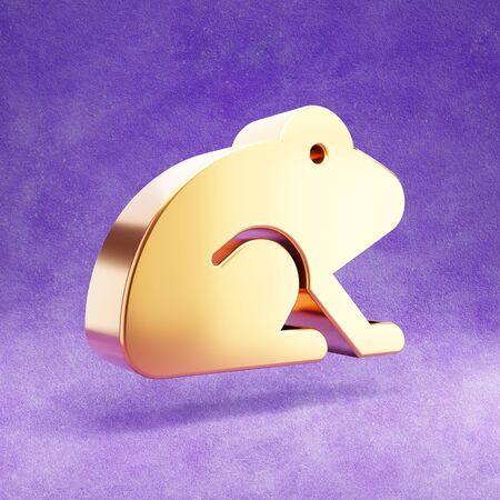 Frog icon. Gold glossy Frog symbol isolated on violet velvet background. Stok Fotoğraf