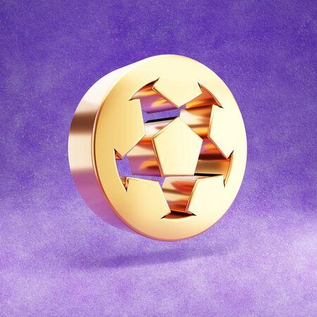 Soccer ball icon. Gold glossy Soccer ball symbol isolated on violet velvet background.