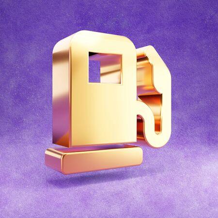 Gas station icon. Gold glossy Gas station symbol isolated on violet velvet background.
