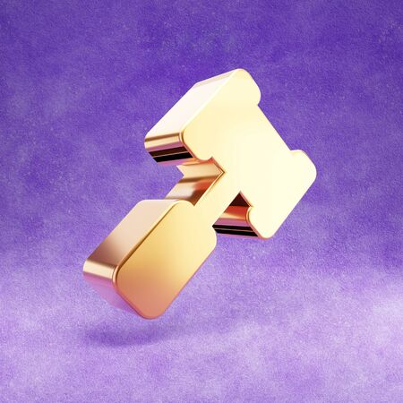 Gavel icon. Gold glossy court judge mallet symbol isolated on violet velvet background. Stok Fotoğraf
