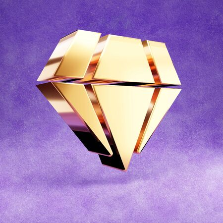 Diamond icon. Gold glossy Diamond symbol isolated on violet velvet background.