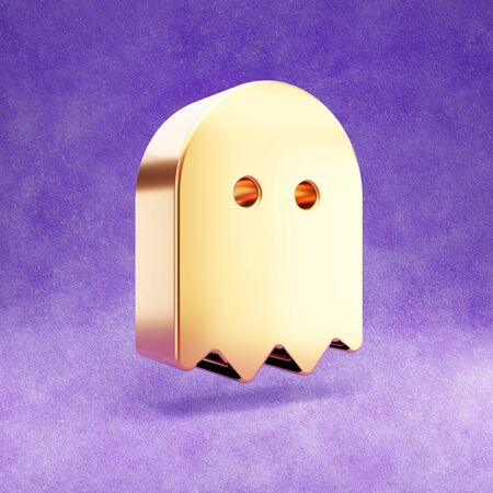 Ghost icon. Gold glossy Ghost symbol isolated on violet velvet background.